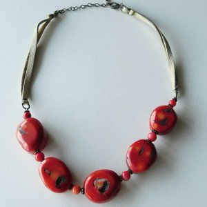 BARSE coral leather and sterling necklace red tan